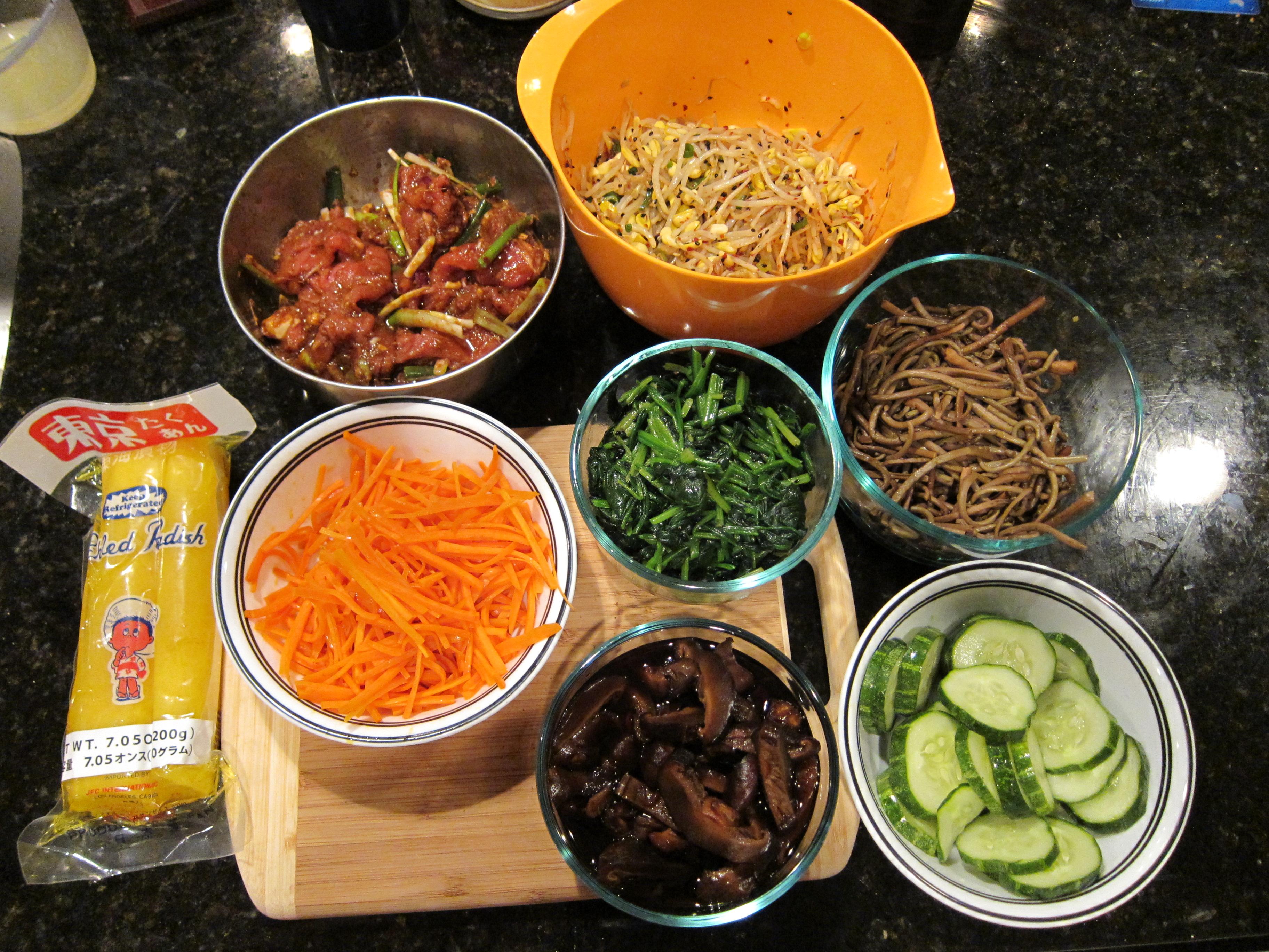 ... (Vegetarian Bibimbap, Kimbap, Beef Bulgogi, and Seafood Pancake