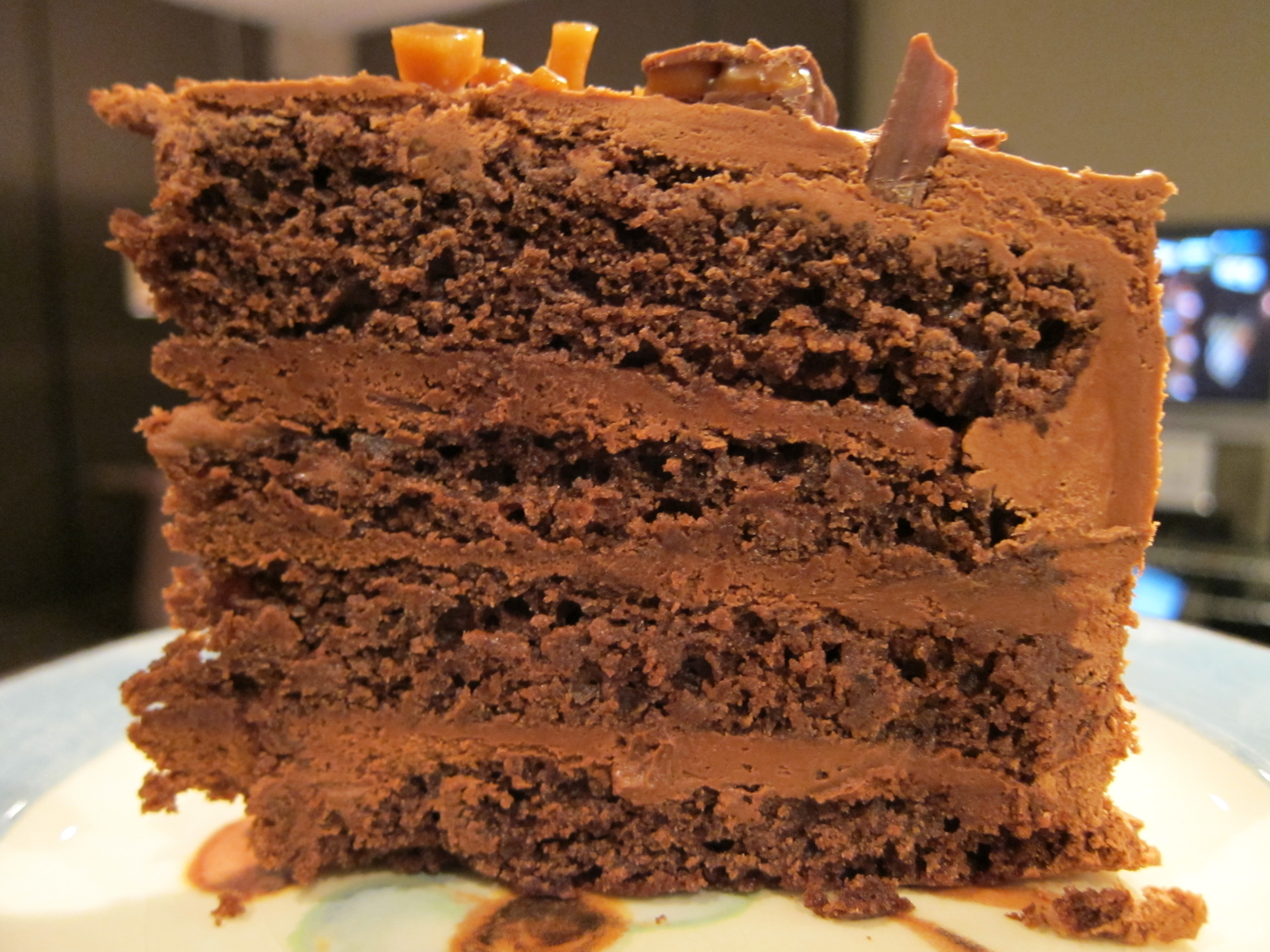 Double-Chocolate Cake with Dark Chocolate Mousse Filling ...