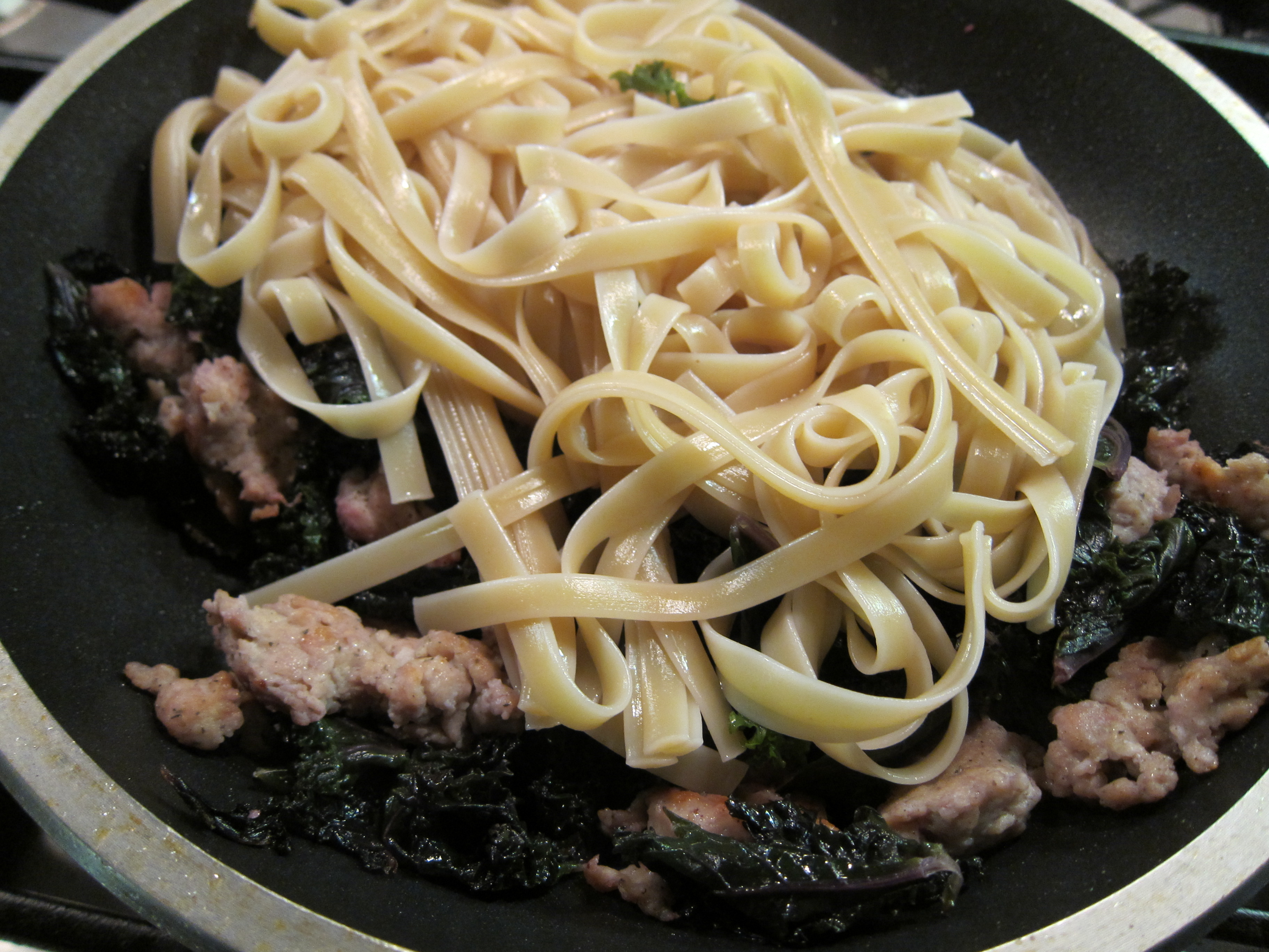 Fettuccine with Sausage and Kale | Dinner With Weijia