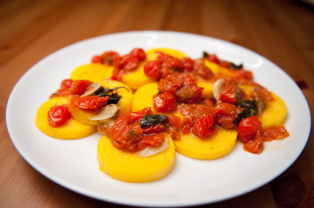 ... polenta with tomato basil sauce with easy creamy basil polenta