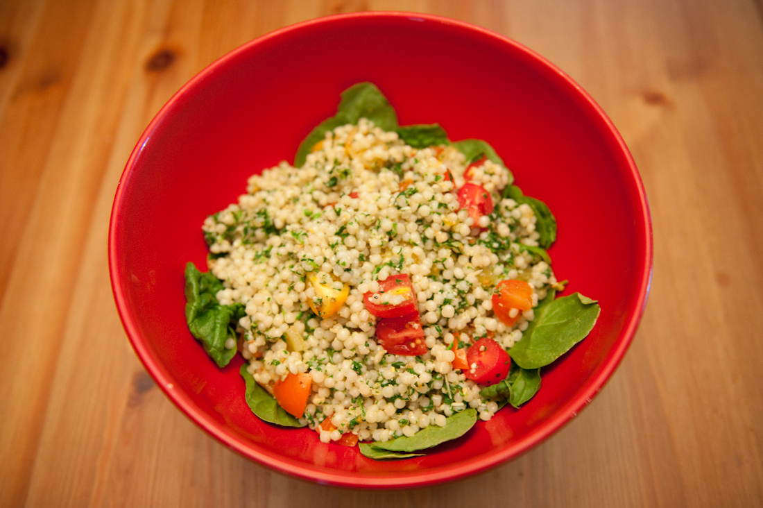 Two Vegetarian Sides: Israeli Couscous and Tomato Salad with Arugula ...