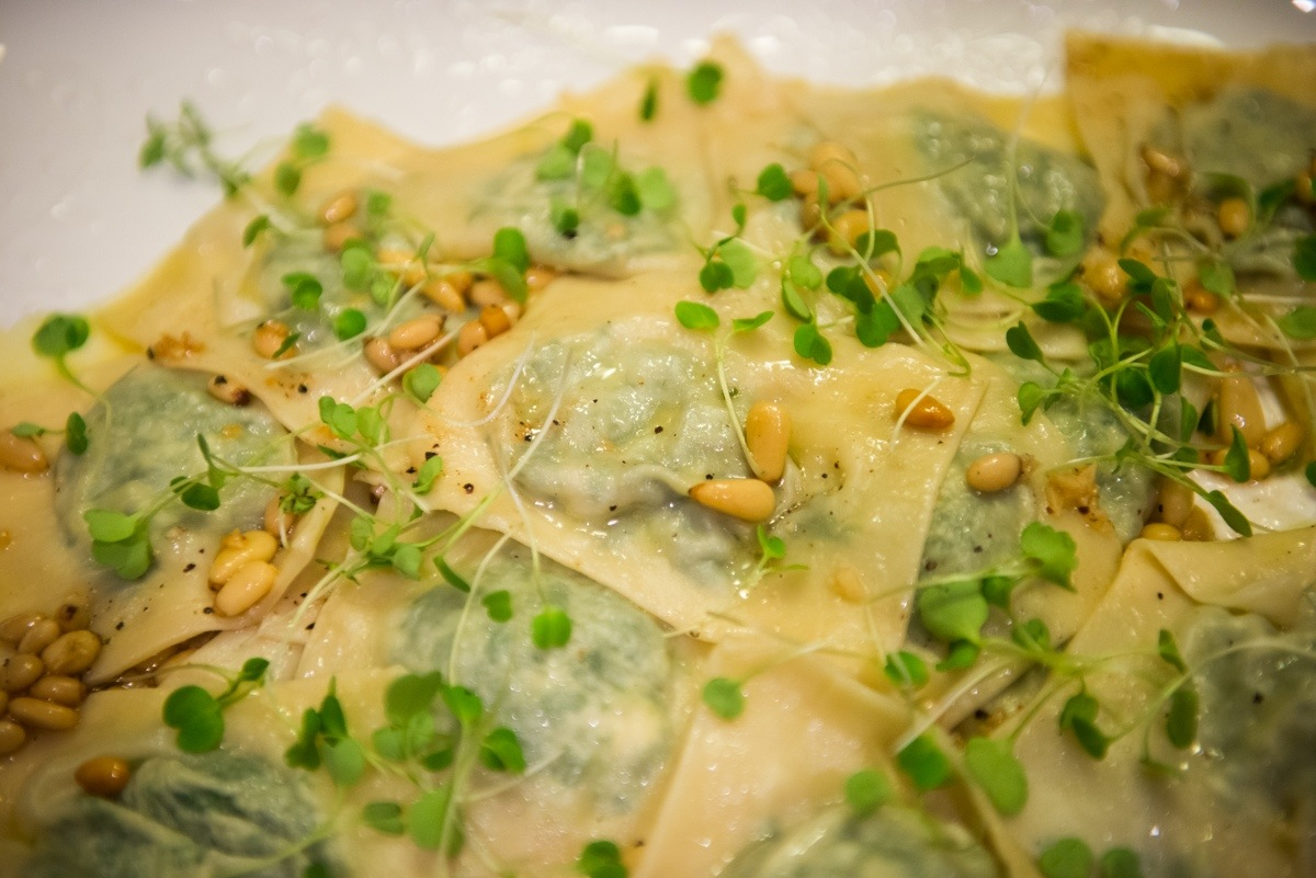 Homemade Ravioli with Arugula and Goat Cheese in Browned Butter Pine ...